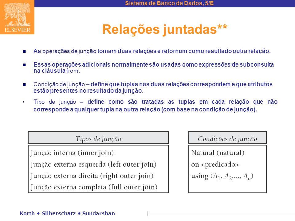 Relações juntadas** As operações de junção tomam duas relações e retornam como resultado outra relação.