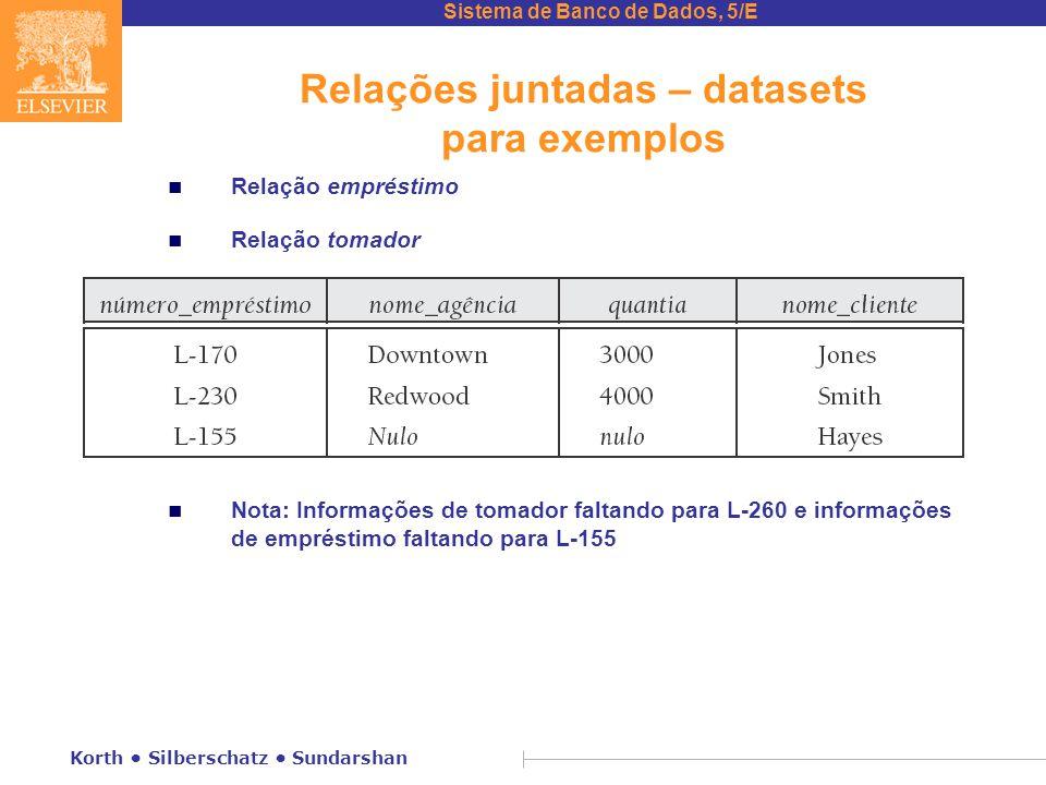 Relações juntadas – datasets para exemplos