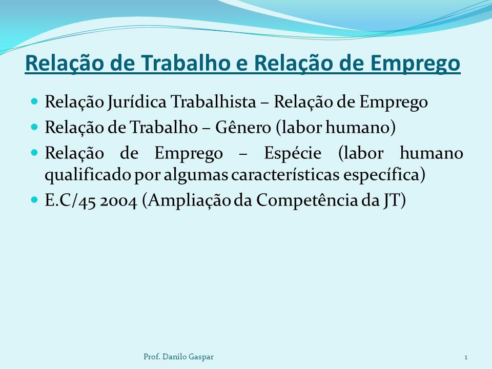 Relação de Trabalho e Relação de Emprego