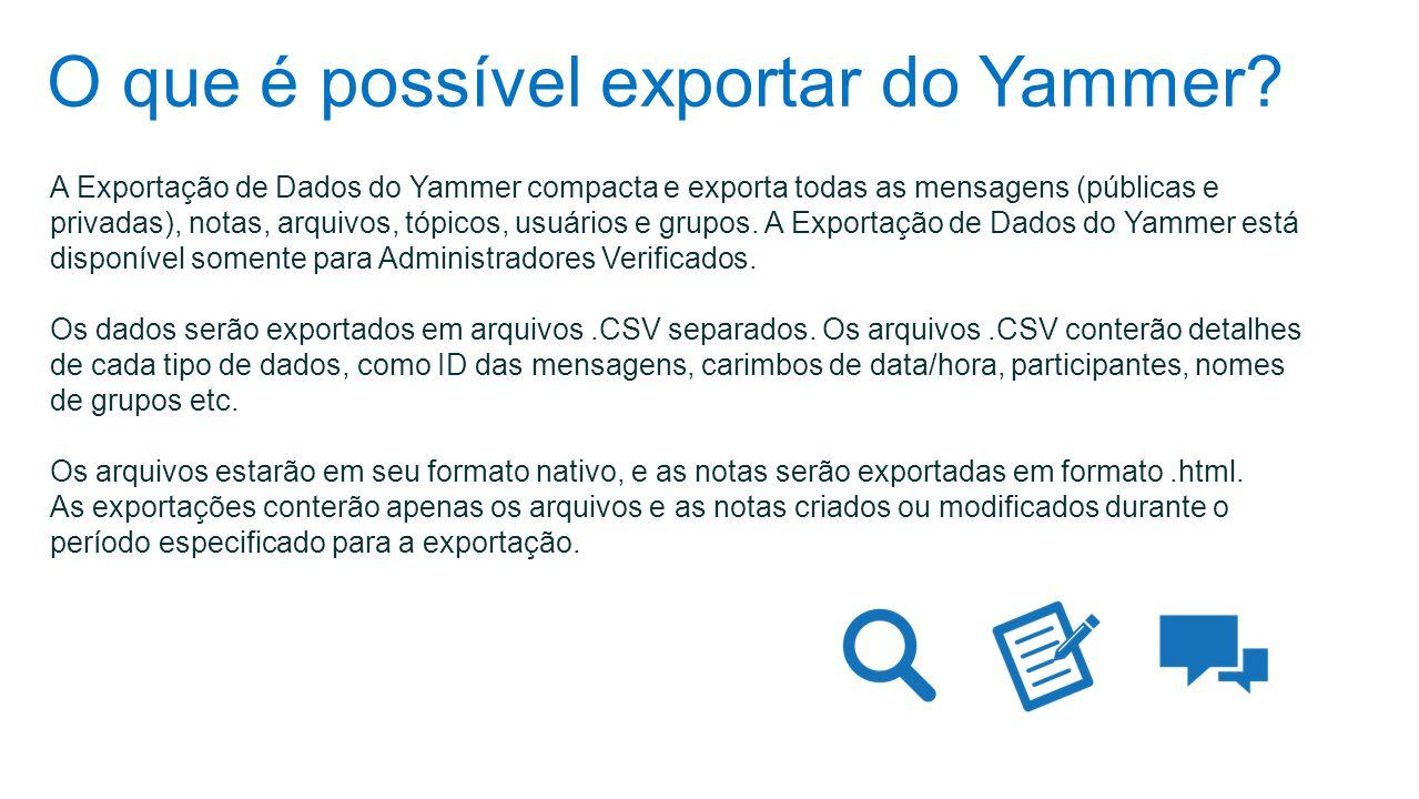O que é possível exportar do Yammer