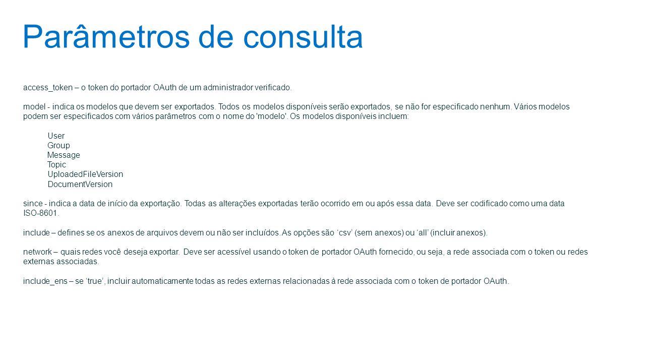 Parâmetros de consulta