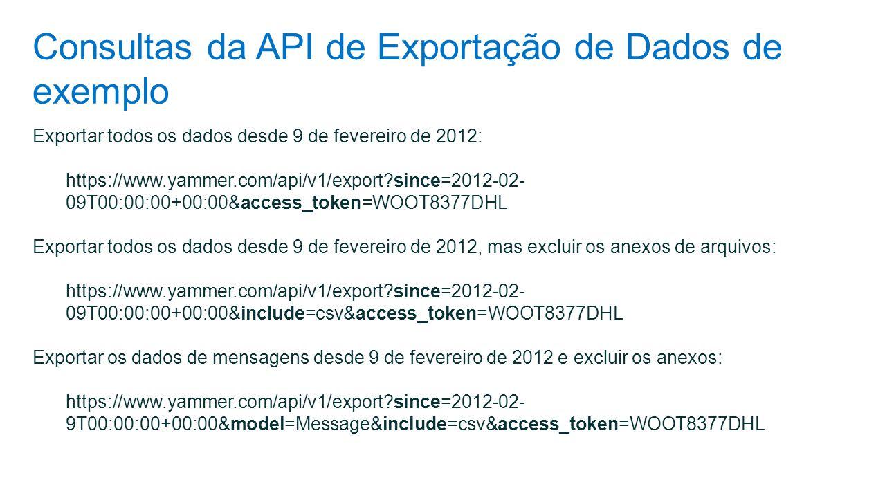 Consultas da API de Exportação de Dados de exemplo