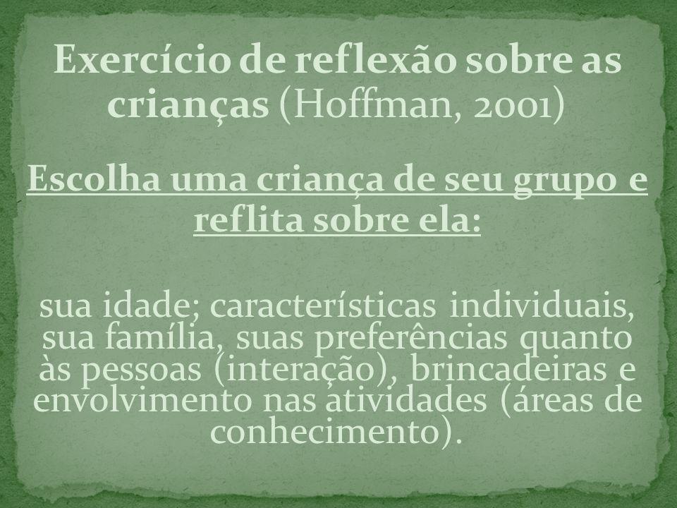 Exercício de reflexão sobre as crianças (Hoffman, 2001)