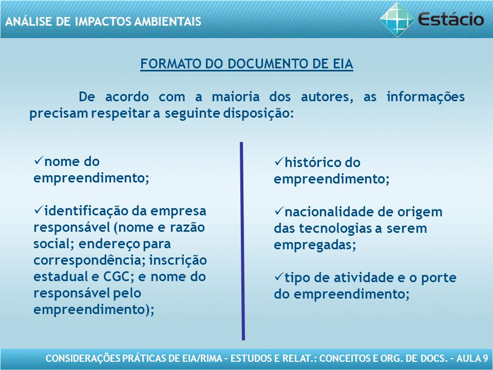 FORMATO DO DOCUMENTO DE EIA