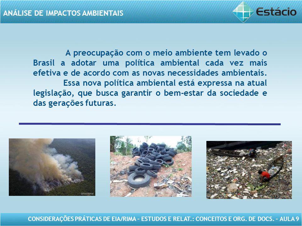 A preocupação com o meio ambiente tem levado o Brasil a adotar uma política ambiental cada vez mais efetiva e de acordo com as novas necessidades ambientais.