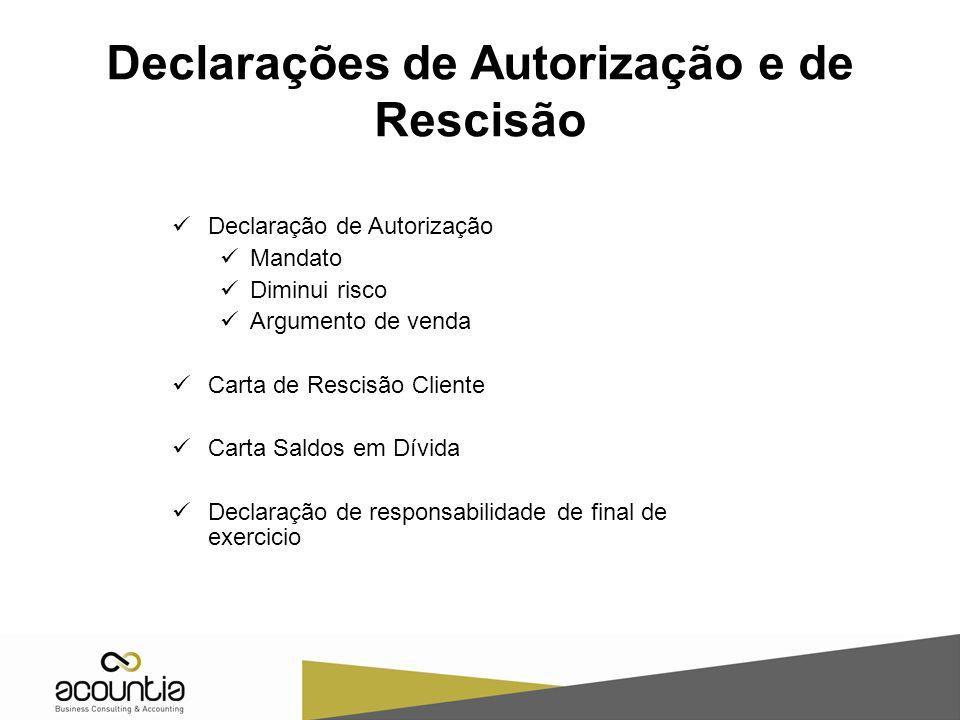 Declarações de Autorização e de Rescisão