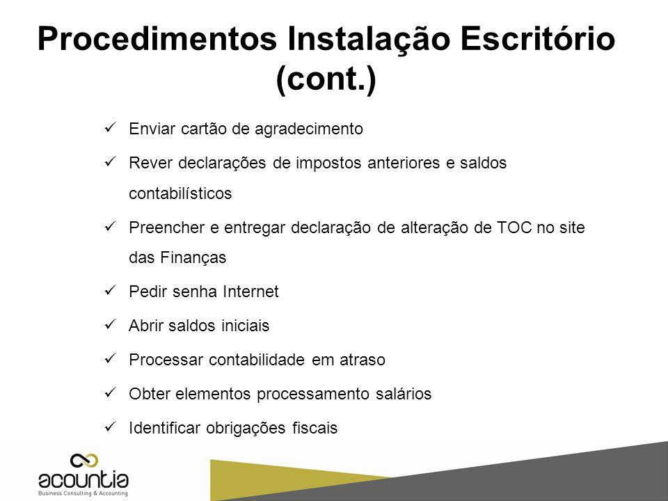 Procedimentos Instalação Escritório (cont.)