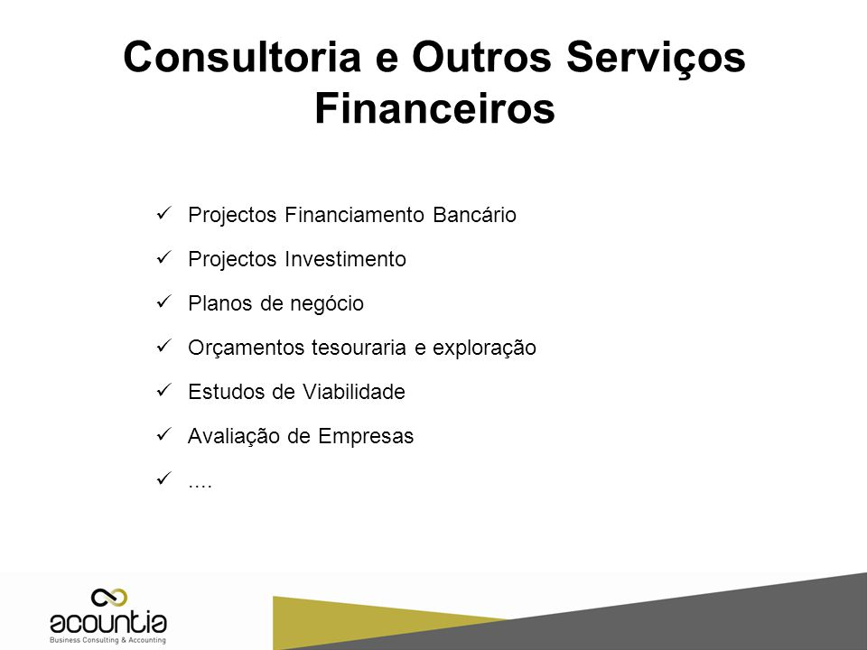 Consultoria e Outros Serviços Financeiros
