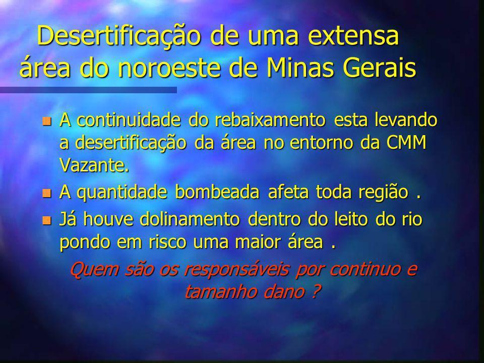 Desertificação de uma extensa área do noroeste de Minas Gerais