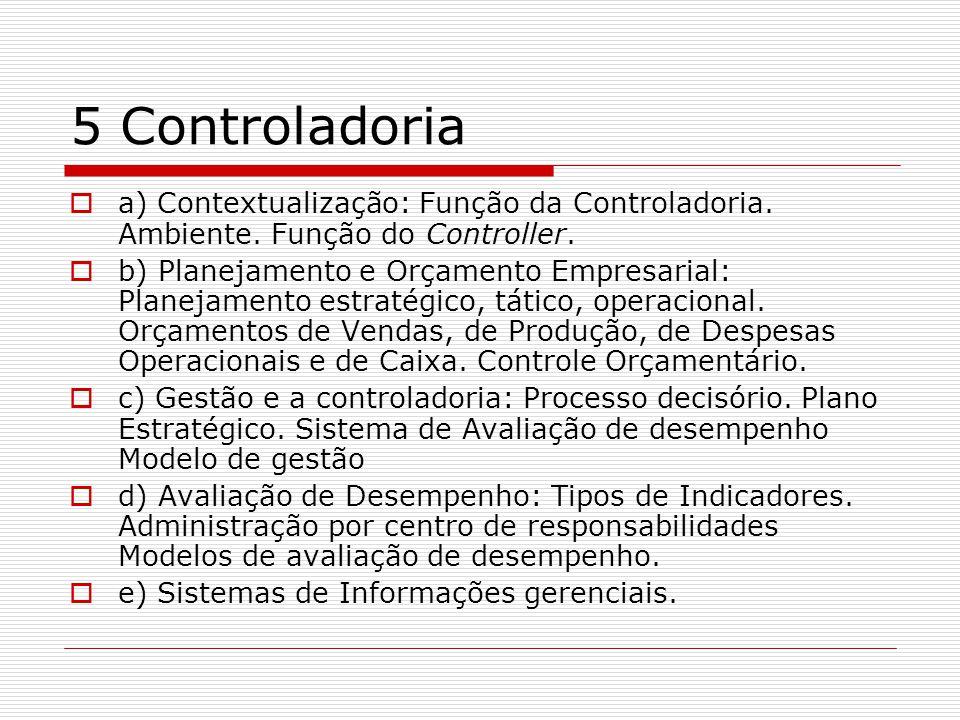5 Controladoria a) Contextualização: Função da Controladoria. Ambiente. Função do Controller.