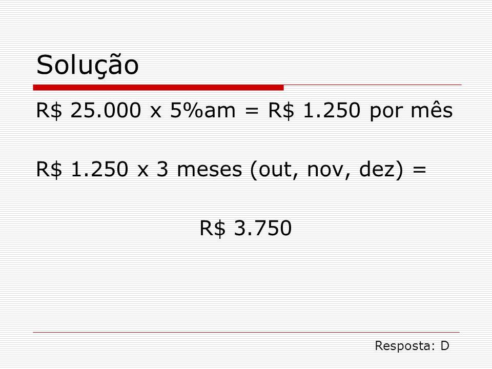 Solução R$ 25.000 x 5%am = R$ 1.250 por mês