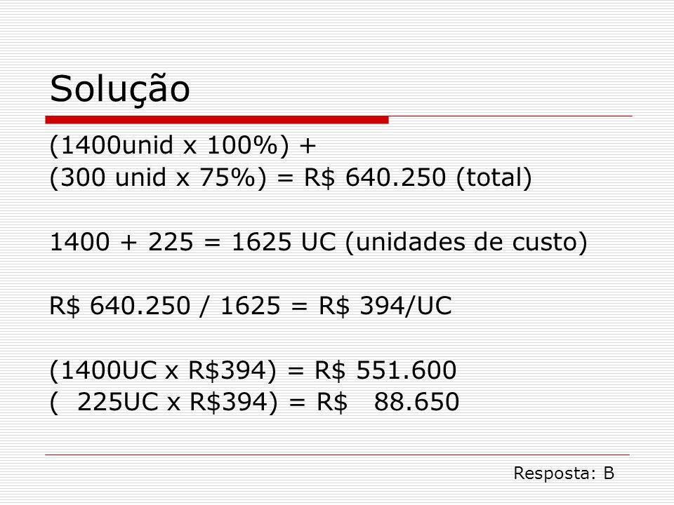 Solução (1400unid x 100%) + (300 unid x 75%) = R$ 640.250 (total)