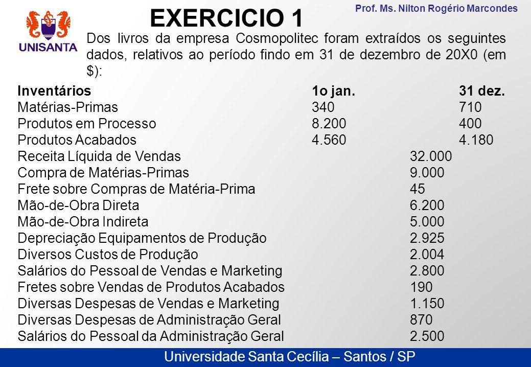 EXERCICIO 1 Dos livros da empresa Cosmopolitec foram extraídos os seguintes dados, relativos ao período findo em 31 de dezembro de 20X0 (em $):
