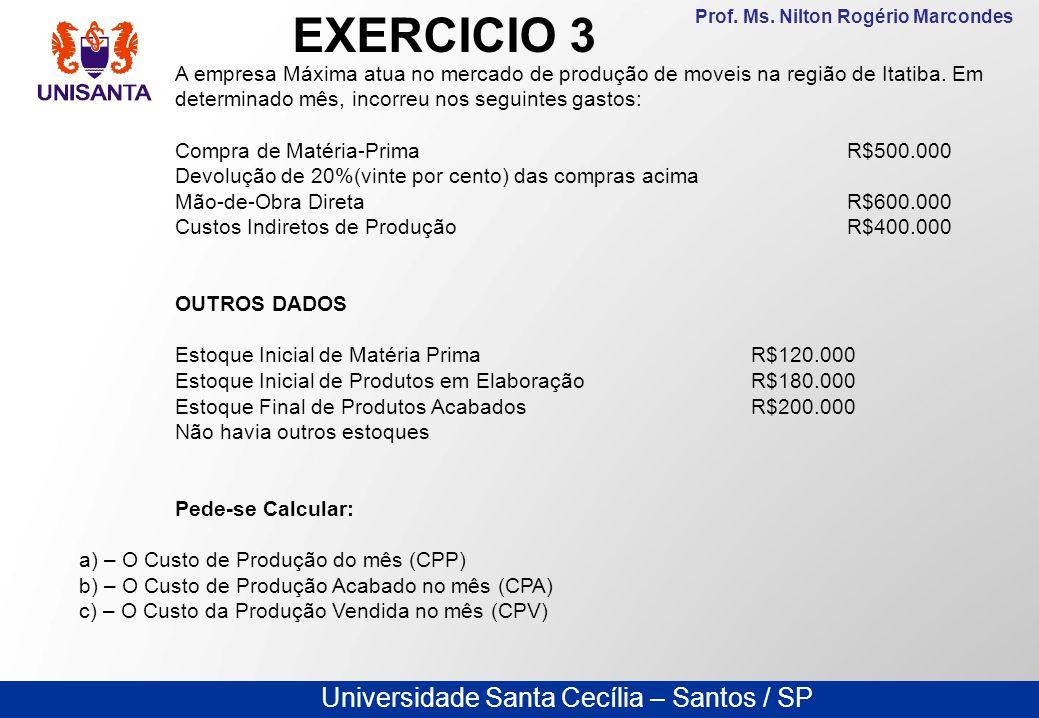 EXERCICIO 3 A empresa Máxima atua no mercado de produção de moveis na região de Itatiba. Em determinado mês, incorreu nos seguintes gastos: