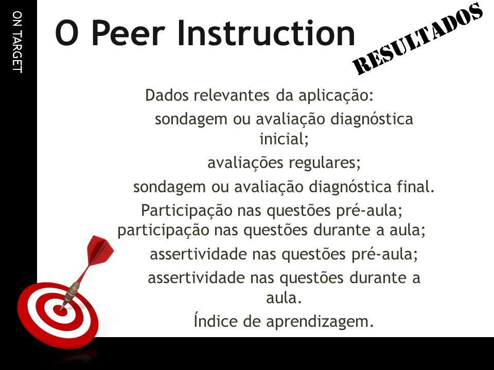 O Peer Instruction RESULTADOS Dados relevantes da aplicação: