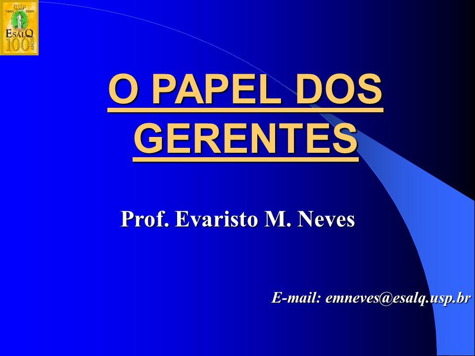 O PAPEL DOS GERENTES Prof. Evaristo M. Neves
