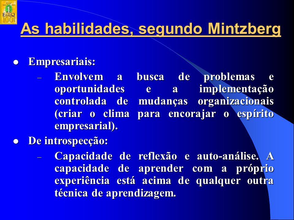 As habilidades, segundo Mintzberg