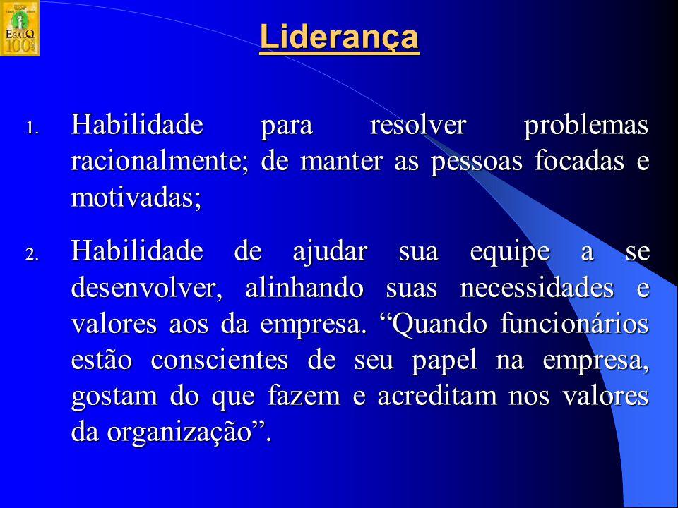 Liderança Habilidade para resolver problemas racionalmente; de manter as pessoas focadas e motivadas;