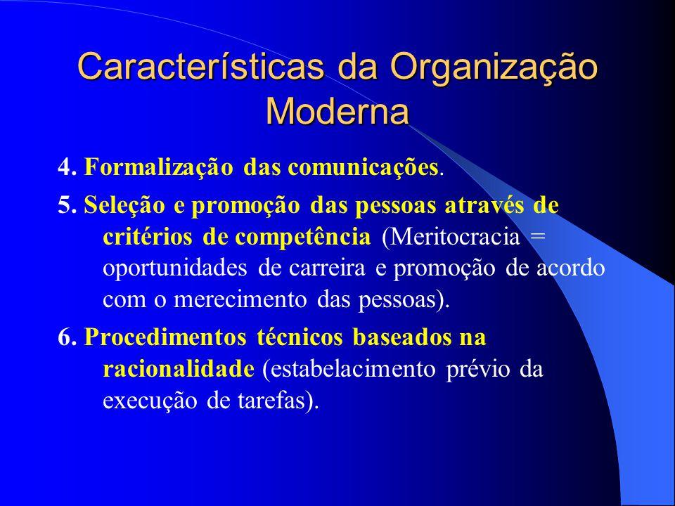 Características da Organização Moderna