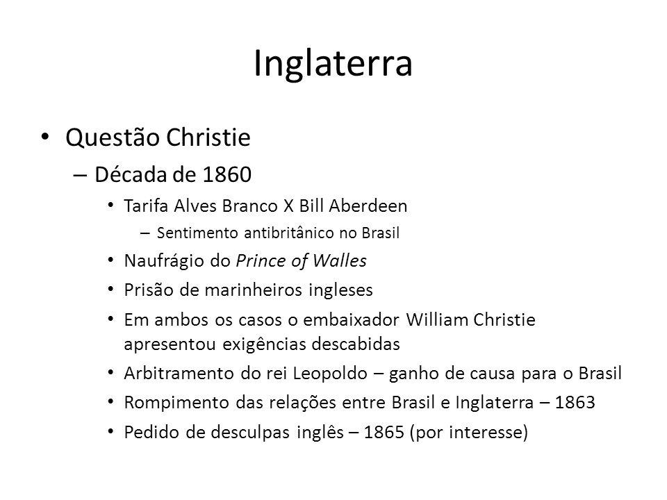 Inglaterra Questão Christie Década de 1860
