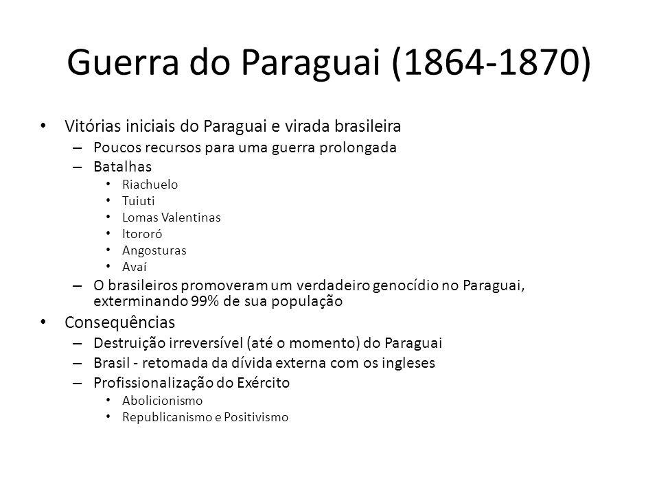 Guerra do Paraguai (1864-1870) Vitórias iniciais do Paraguai e virada brasileira. Poucos recursos para uma guerra prolongada.