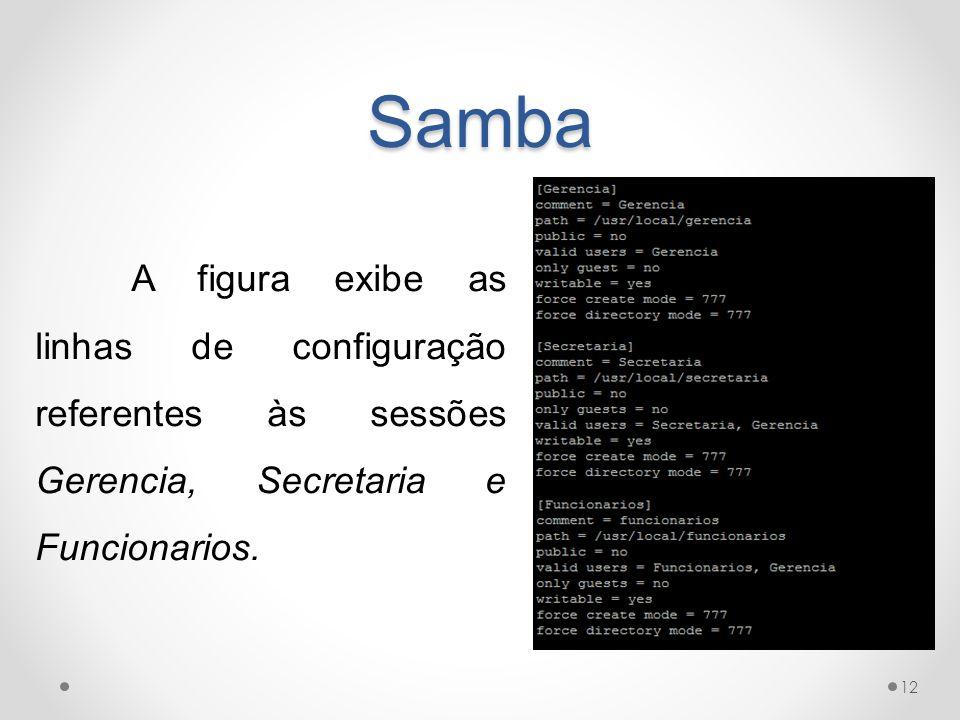 Samba A figura exibe as linhas de configuração referentes às sessões Gerencia, Secretaria e Funcionarios.