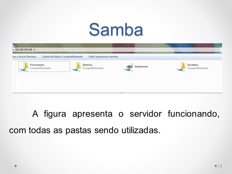 Samba A figura apresenta o servidor funcionando, com todas as pastas sendo utilizadas.