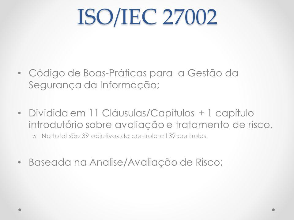 ISO/IEC 27002 Código de Boas-Práticas para a Gestão da Segurança da Informação;