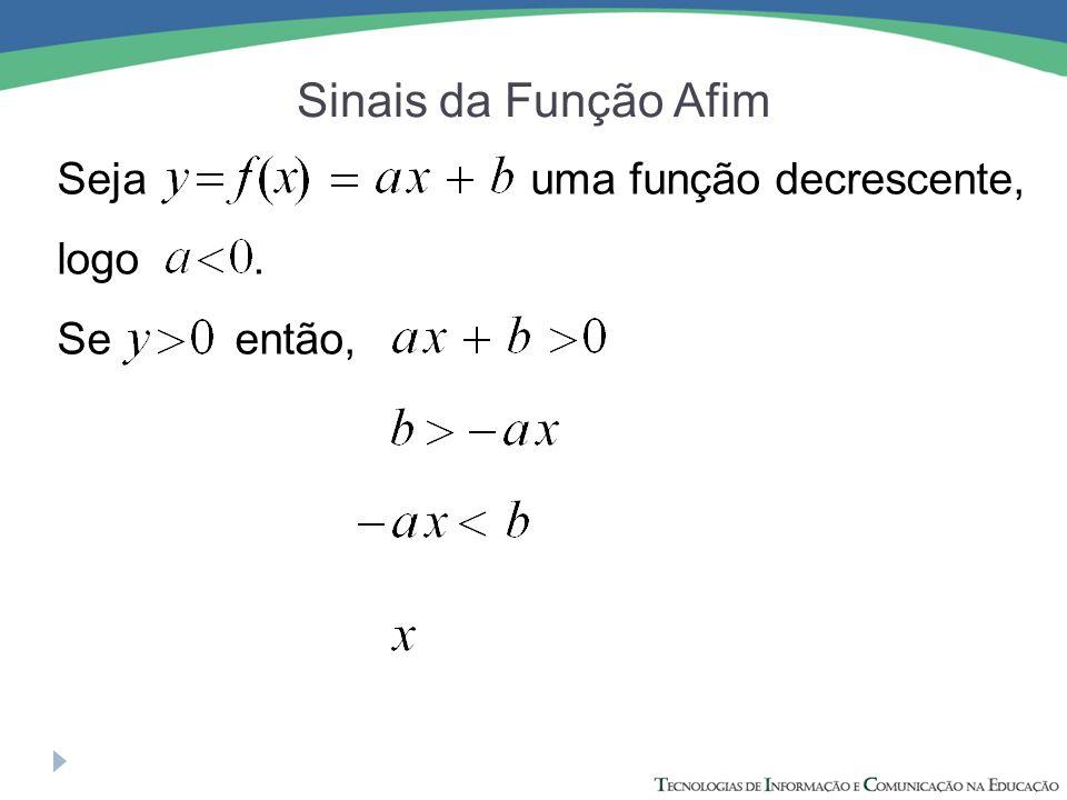 Sinais da Função Afim Seja uma função decrescente, logo .
