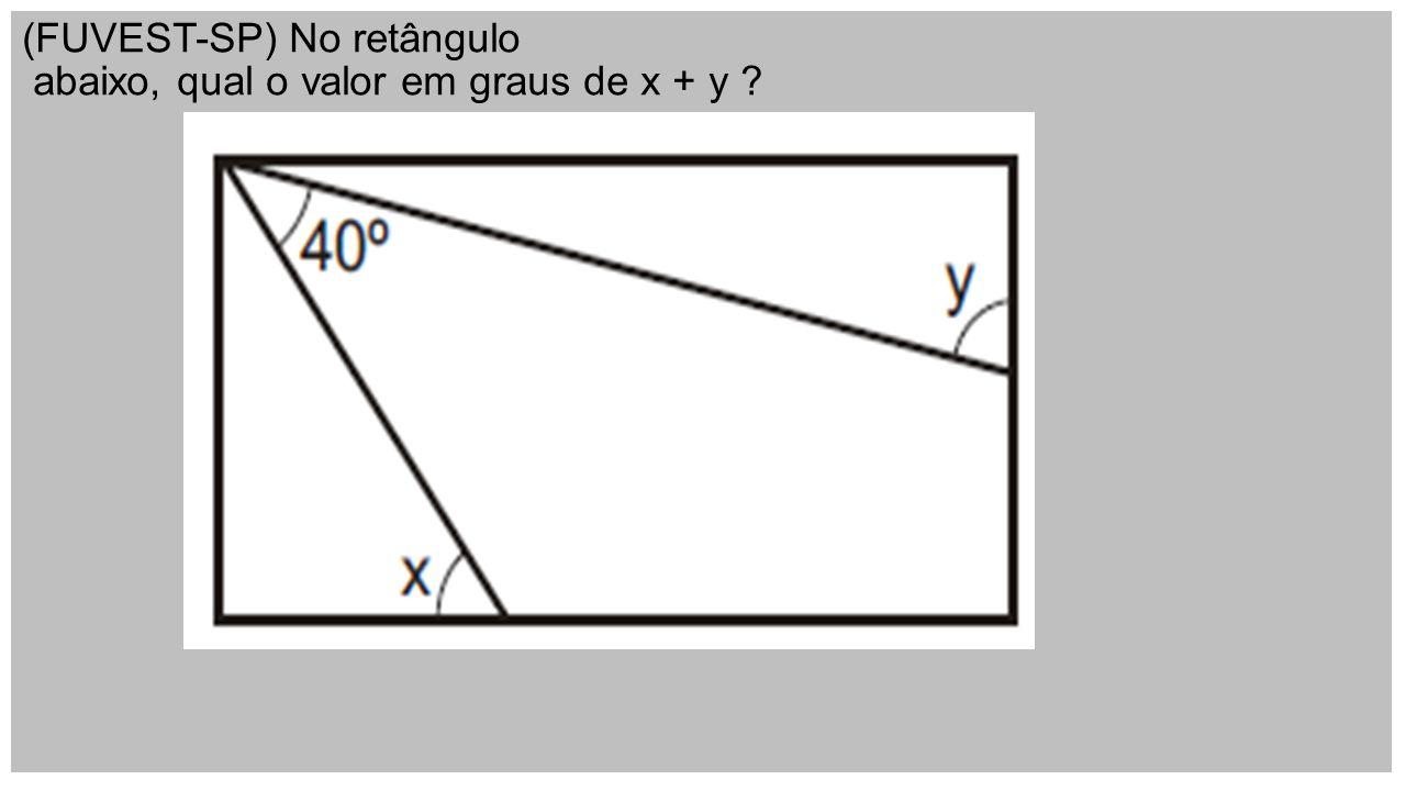 (FUVEST-SP) No retângulo abaixo, qual o valor em graus de x + y