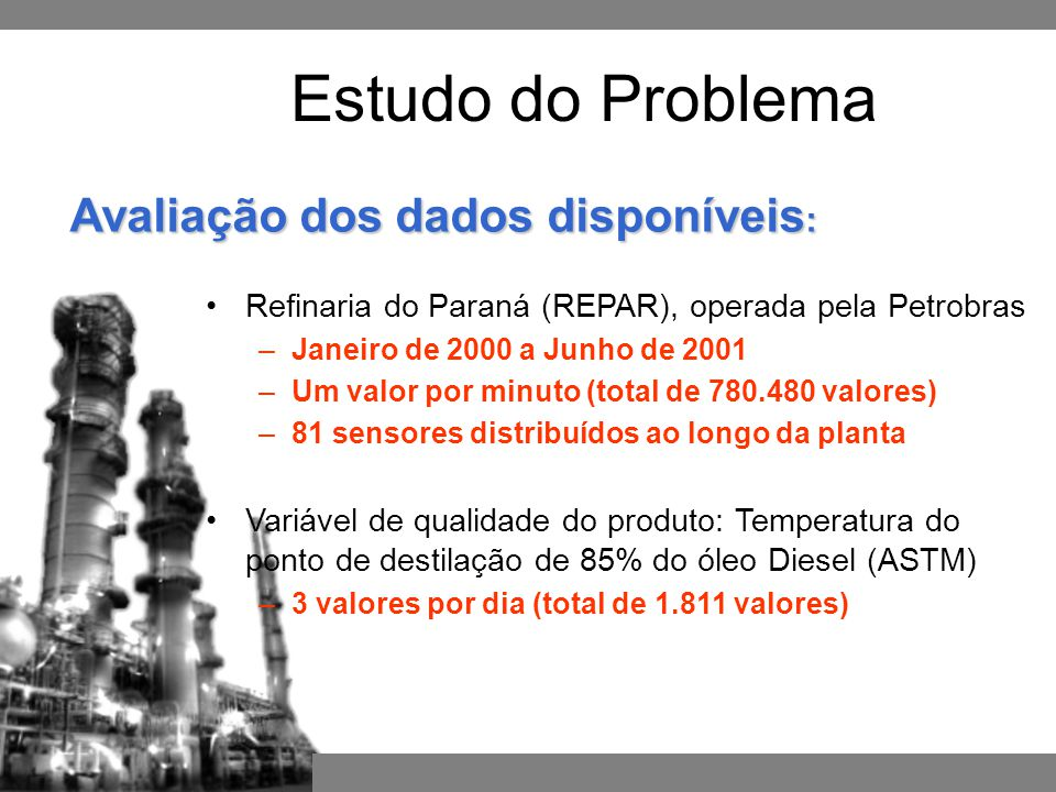 Estudo do Problema Avaliação dos dados disponíveis: