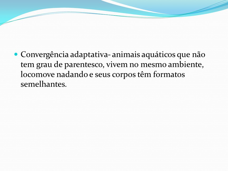 Convergência adaptativa- animais aquáticos que não tem grau de parentesco, vivem no mesmo ambiente, locomove nadando e seus corpos têm formatos semelhantes.