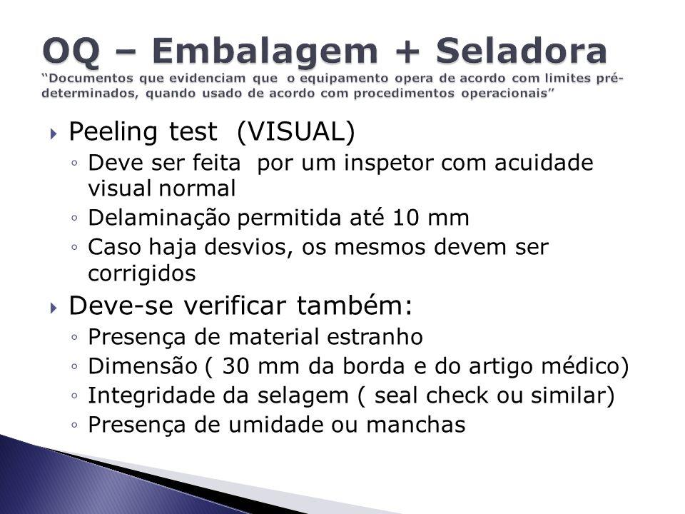 OQ – Embalagem + Seladora Documentos que evidenciam que o equipamento opera de acordo com limites pré- determinados, quando usado de acordo com procedimentos operacionais