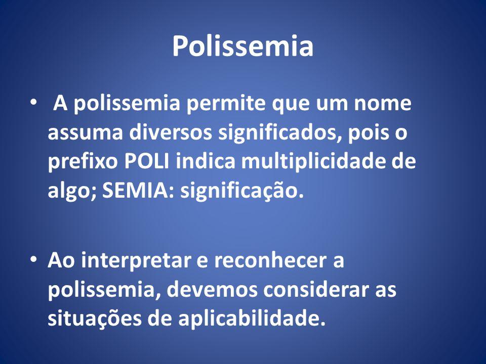 Polissemia A polissemia permite que um nome assuma diversos significados, pois o prefixo POLI indica multiplicidade de algo; SEMIA: significação.
