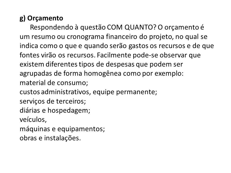 g) Orçamento