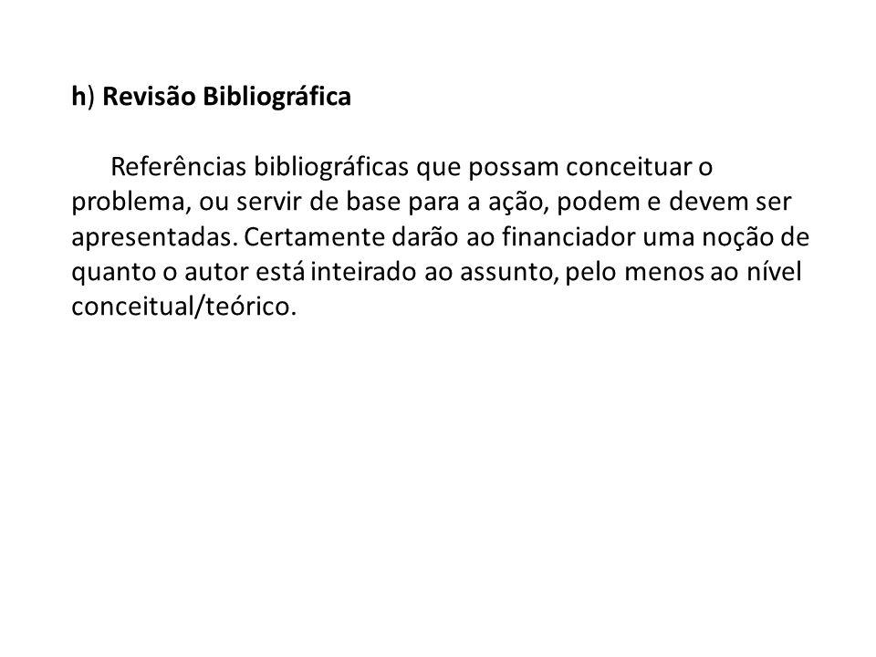 h) Revisão Bibliográfica