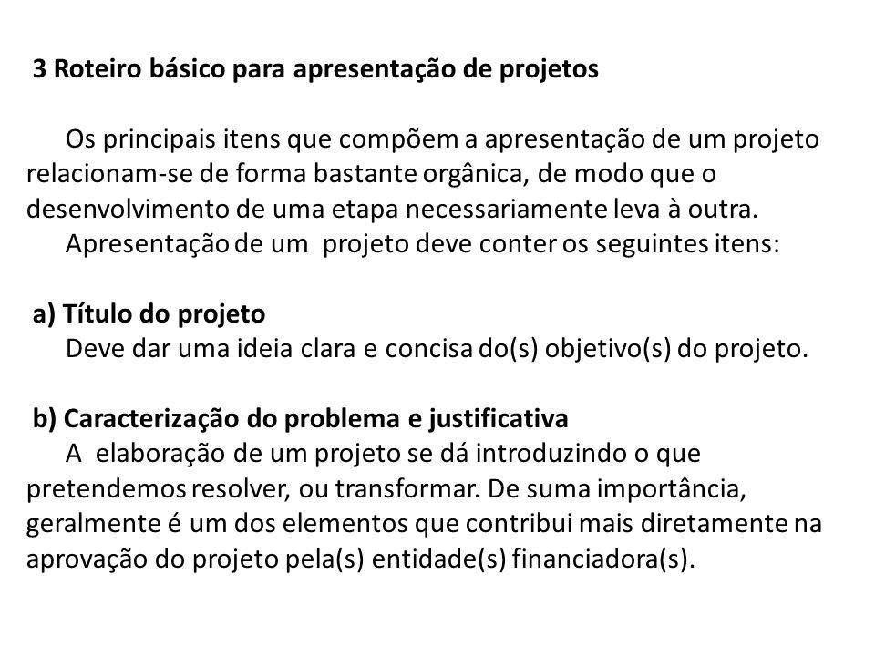 3 Roteiro básico para apresentação de projetos