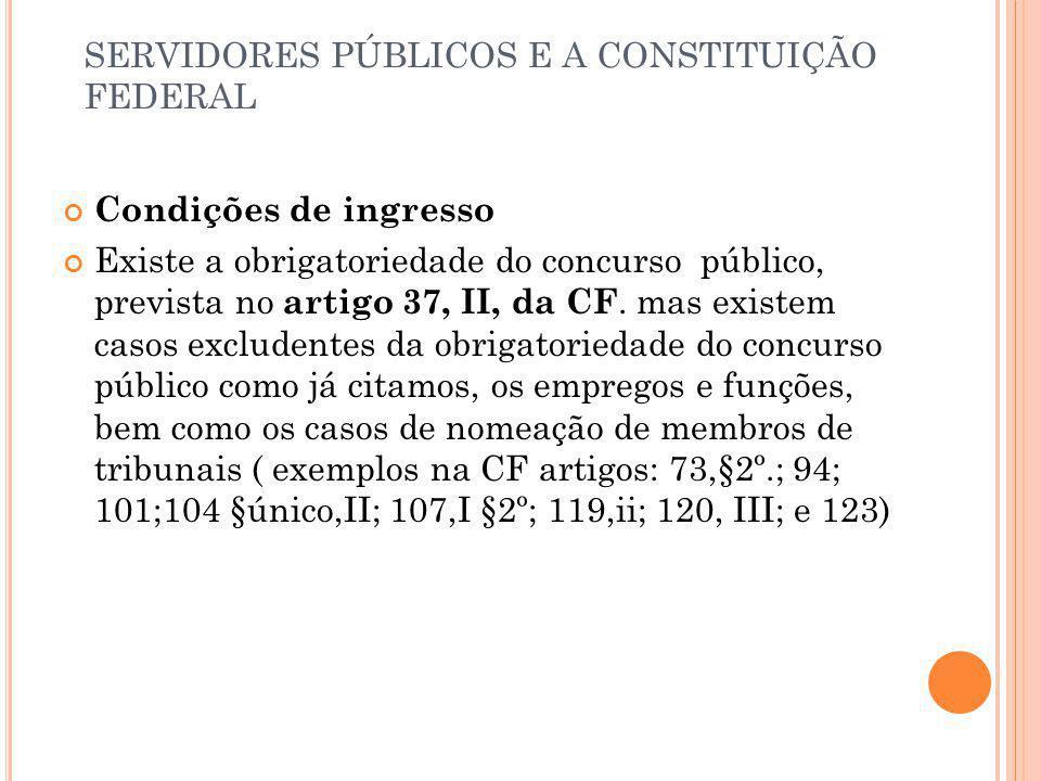SERVIDORES PÚBLICOS E A CONSTITUIÇÃO FEDERAL