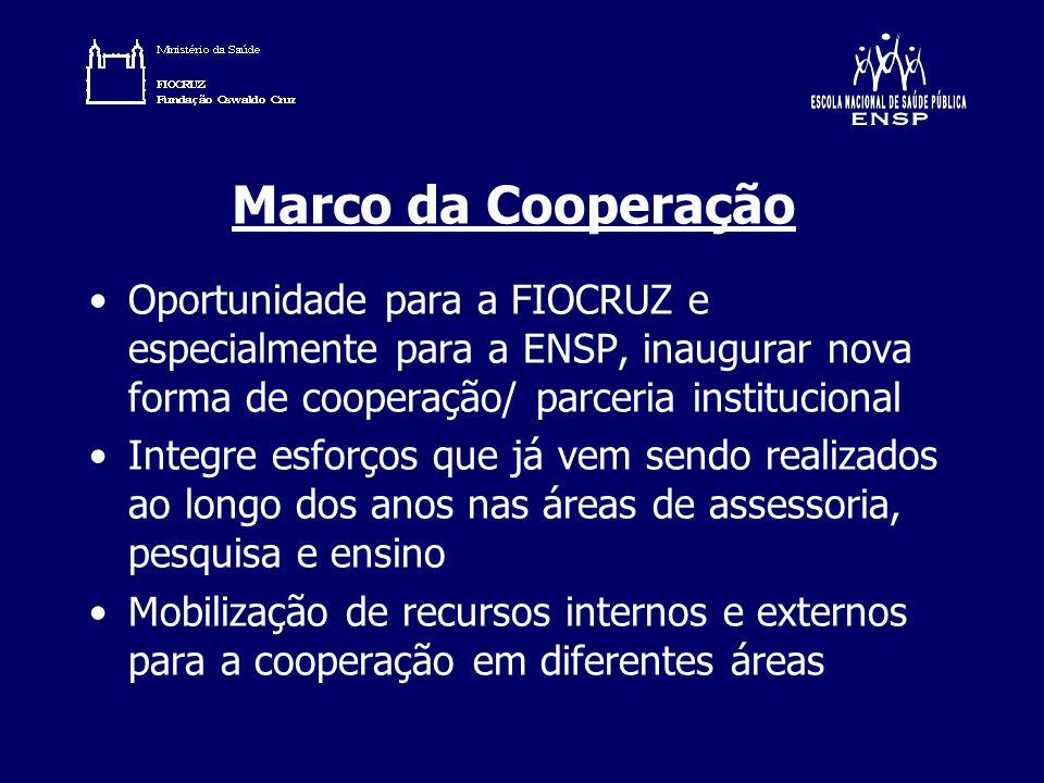 Marco da Cooperação Oportunidade para a FIOCRUZ e especialmente para a ENSP, inaugurar nova forma de cooperação/ parceria institucional.