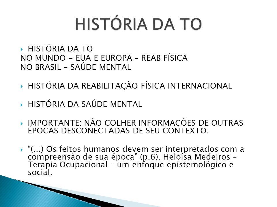HISTÓRIA DA TO HISTÓRIA DA TO NO MUNDO - EUA E EUROPA – REAB FÍSICA