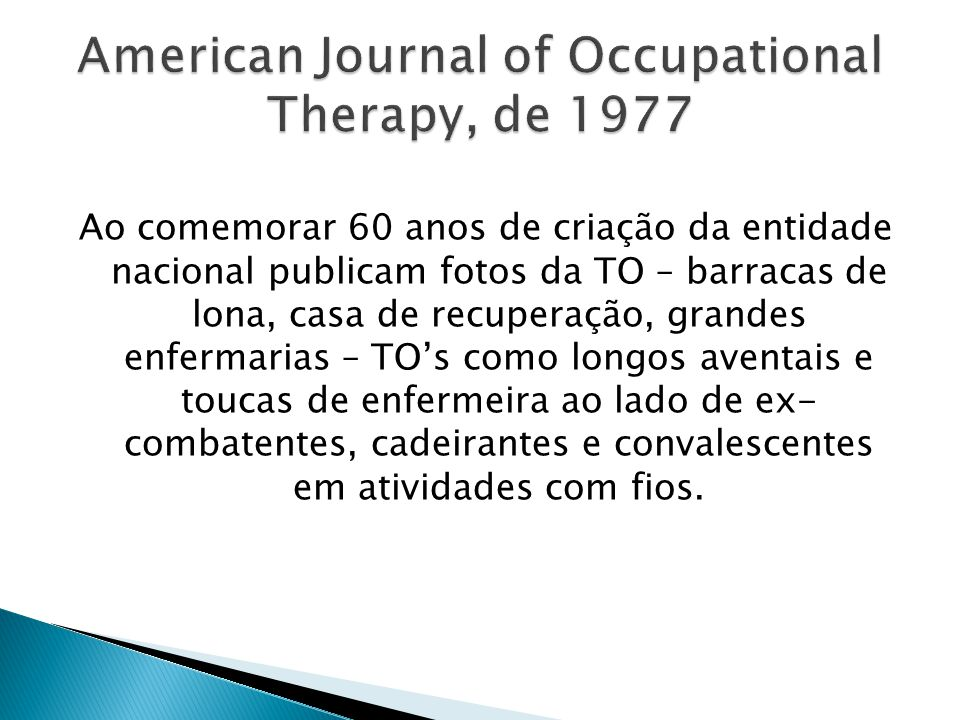 American Journal of Occupational Therapy, de 1977