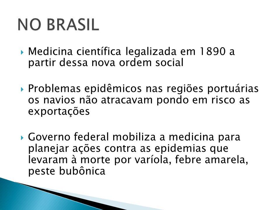 NO BRASIL Medicina científica legalizada em 1890 a partir dessa nova ordem social.