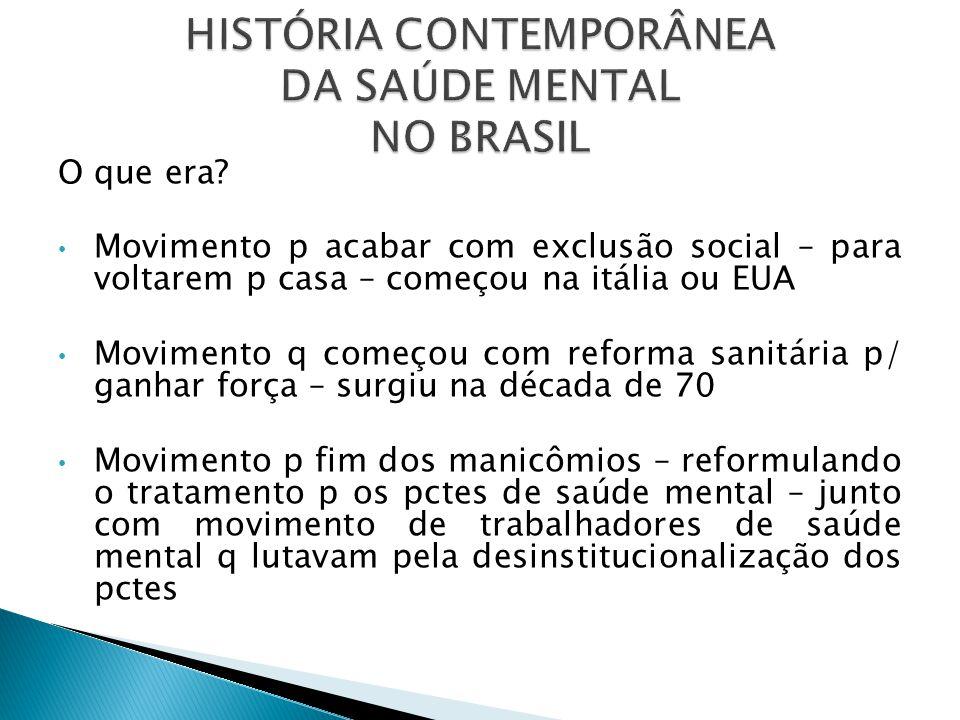 HISTÓRIA CONTEMPORÂNEA DA SAÚDE MENTAL NO BRASIL