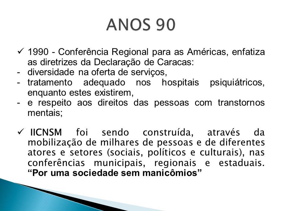 ANOS 90 1990 - Conferência Regional para as Américas, enfatiza as diretrizes da Declaração de Caracas:
