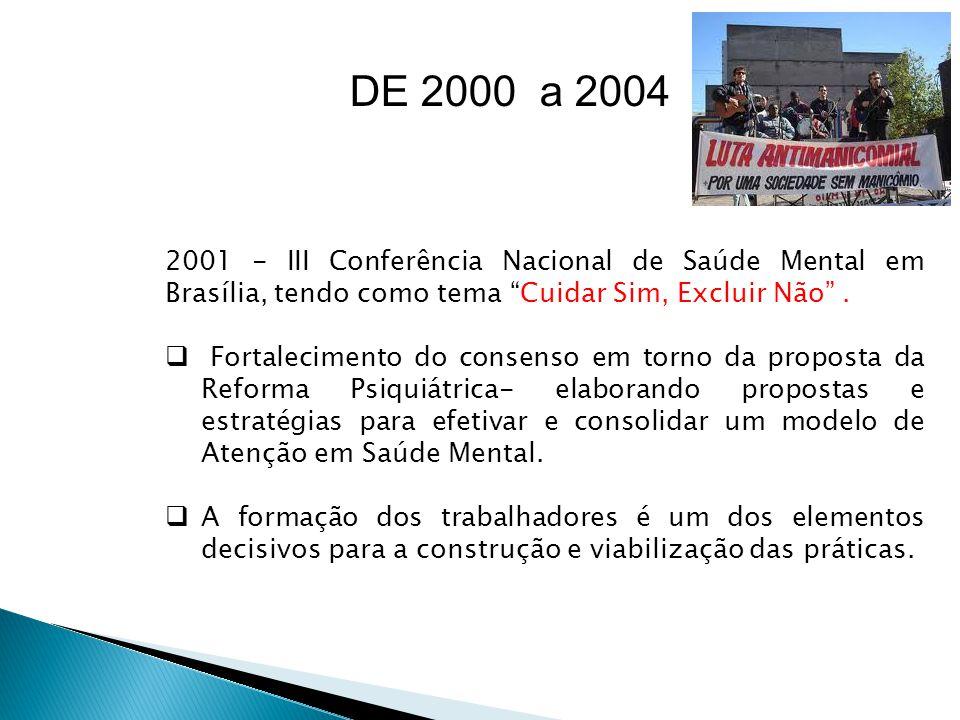 DE 2000 a 2004 2001 - III Conferência Nacional de Saúde Mental em Brasília, tendo como tema Cuidar Sim, Excluir Não .