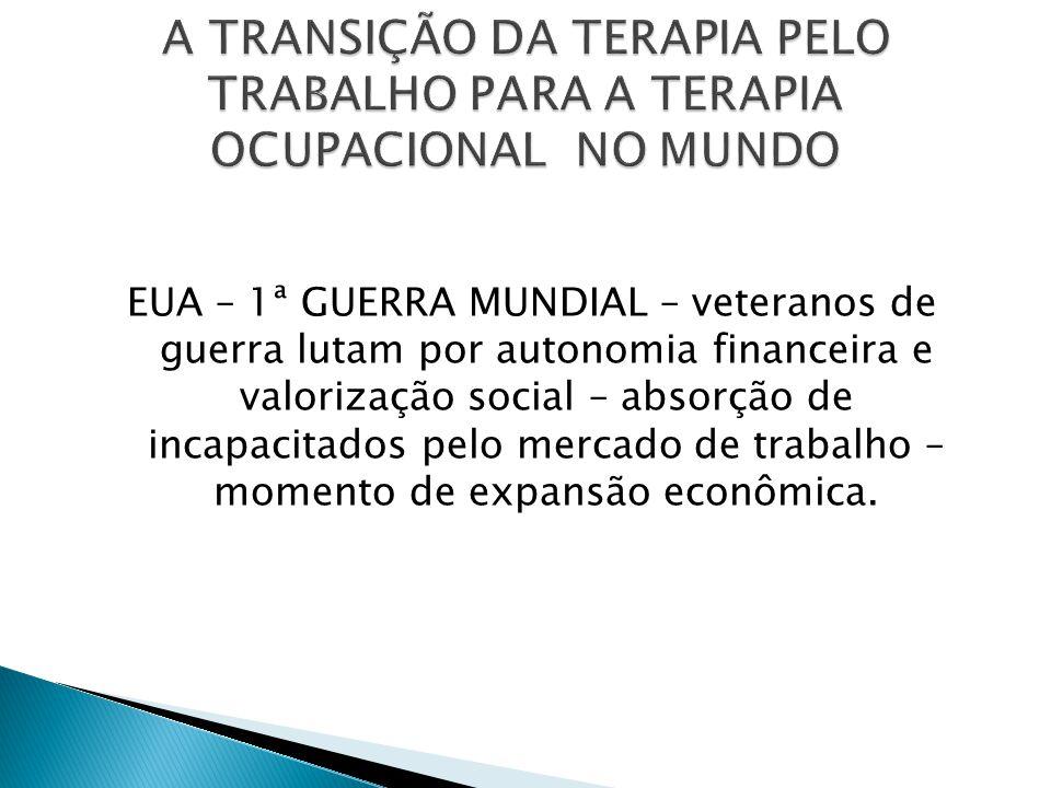 A TRANSIÇÃO DA TERAPIA PELO TRABALHO PARA A TERAPIA OCUPACIONAL NO MUNDO