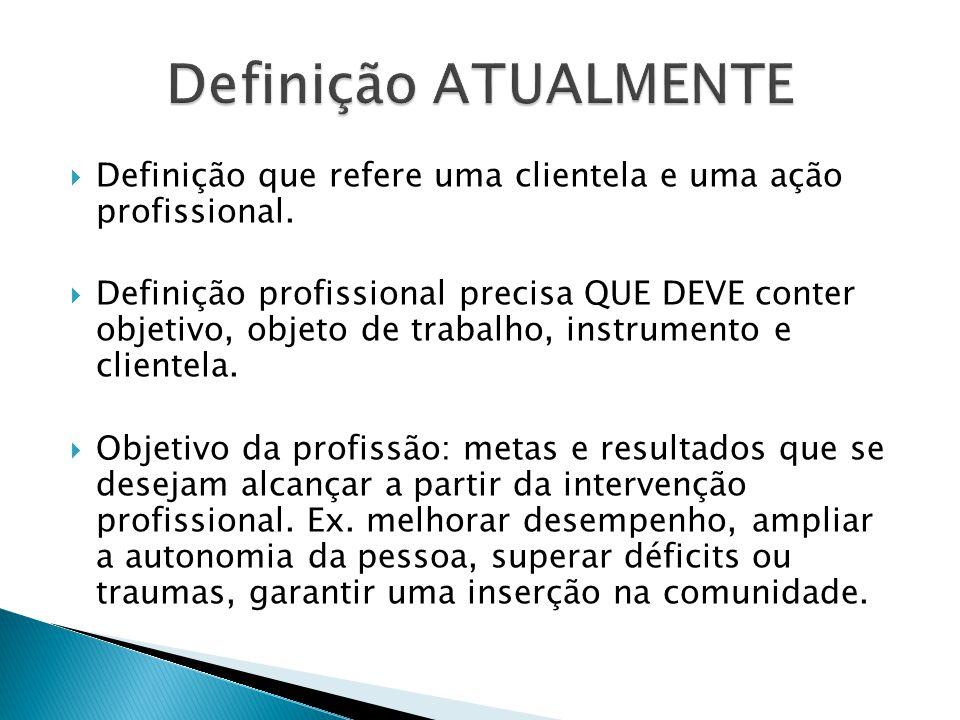 Definição ATUALMENTE Definição que refere uma clientela e uma ação profissional.