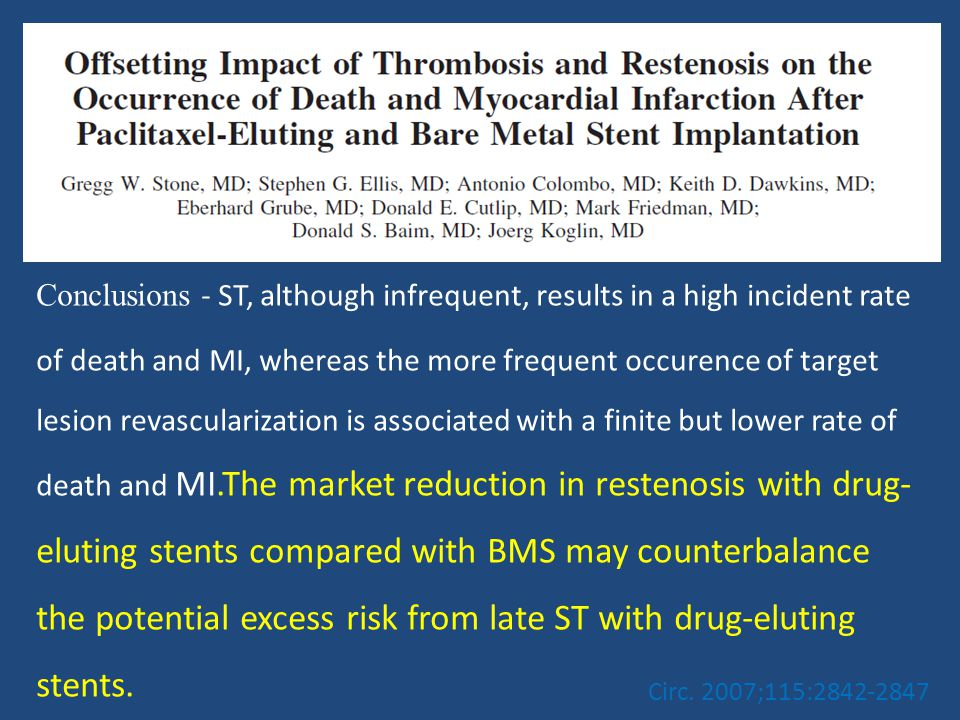 Conclusions - ST, although infrequent, results in a high incident rate of death and MI, whereas the more frequent occurence of target lesion revascularization is associated with a finite but lower rate of death and MI.The market reduction in restenosis with drug-eluting stents compared with BMS may counterbalance the potential excess risk from late ST with drug-eluting stents.