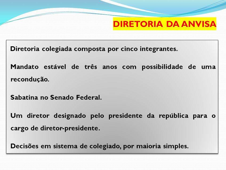 DIRETORIA DA ANVISA Diretoria colegiada composta por cinco integrantes. Mandato estável de três anos com possibilidade de uma recondução.