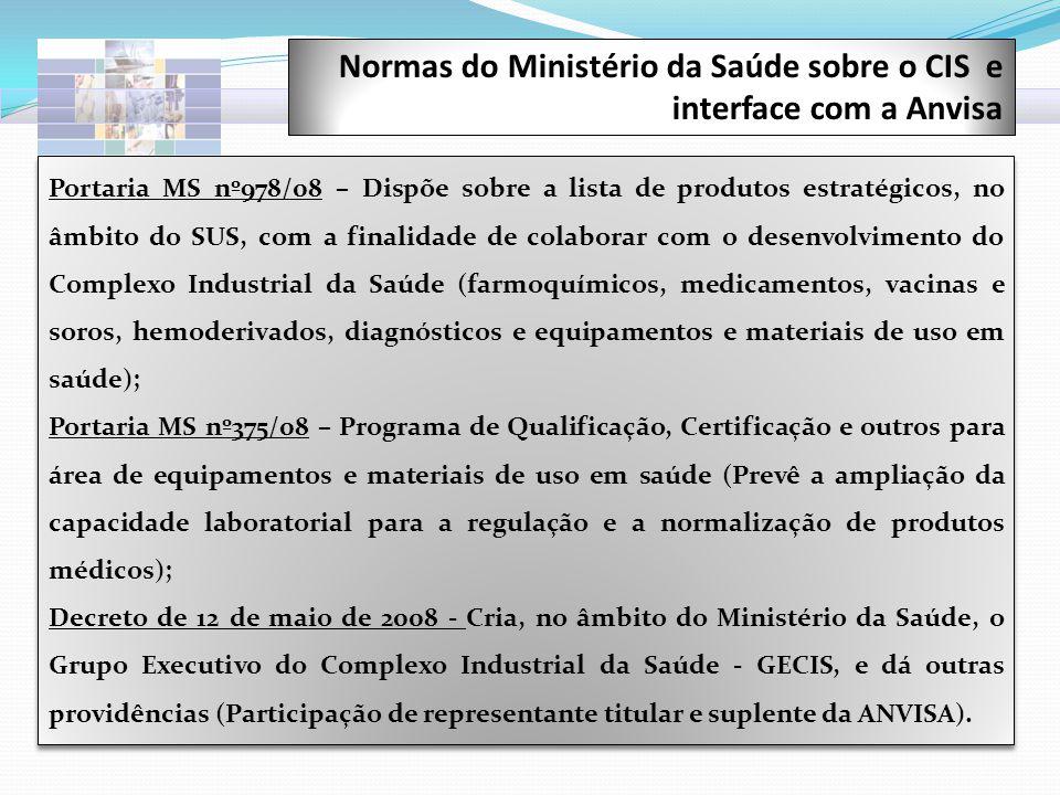 Normas do Ministério da Saúde sobre o CIS e interface com a Anvisa